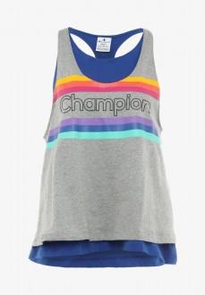 Camiseta Mujer Champion Tank Top Bs008 Bai 111327 Azul/Gis