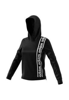 Sudadera Adidas Mujer C90 OH Negra Logo Blanco EH6462