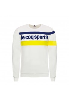 Le Coq Sportif Men's Sweatshirt Essentiels Crew White Logo Blue Line Yellow 1920479
