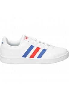 Zapatilla Adidas HombreGrand Court Base Blanca lineas Azul y Rojas EE7901