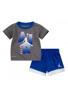 Conjunto Nike Jordan Iconic Logo Te Gris/Azul 657549-U89