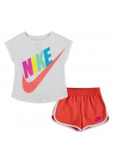 Conjunto Infantil Nike Futura SS Tee Blanco/Rosa 16E471-N5L