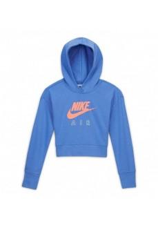 Nike Girl's Air Crop Ft Hoodie Blue CZ6234-478